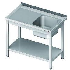 Stół nierdzewny ze zlewem 1-komorowm i półką składany<br />model: 980697100<br />producent: Stalgast