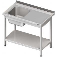 Stół nierdzewny ze zlewem 1-komorowm i półką składany<br />model: 980707140<br />producent: Stalgast