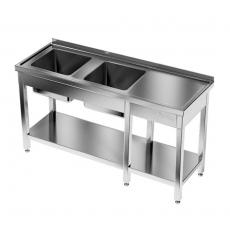 Stół nierdzewny ze zlewem 2-komorowym i półką dolną<br />model: E2245/1800/600<br />producent: ProfiChef