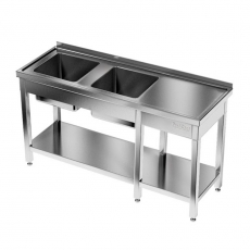 Stół nierdzewny ze zlewem 2-komorowym i półką dolną<br />model: E2245/1700/700<br />producent: ProfiChef