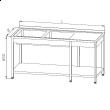 Stół nierdzewny ze zlewem 2-komorowym i półką dolną E2245/2500/700