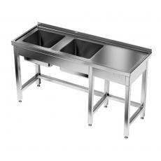 Stół nierdzewny ze zlewem 2-komorowym<br />model: E2235/2400/600<br />producent: M&M Gastro