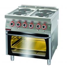 Kuchnia gastronomiczna elektryczna 4-płytowa z piekarnikiem el. | KROMET 700.KE-4/PE-2<br />model: 700.KE-4/PE-2.A<br />producent: Kromet