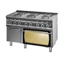 Kuchnia gastronomiczna elektryczna 6-płytowa z piekarnikiem el. | KROMET 700.KE-6/PE-2/SD<br />model: 700.KE-6/PE-2/SD<br />producent: Kromet