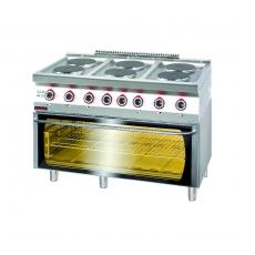 Kuchnia gastronomiczna elektryczna 6-płytowa z piekarnikiem el. | KROMET 700.KE-6/PE-3<br />model: 700.KE-6/PE-3.A<br />producent: Kromet