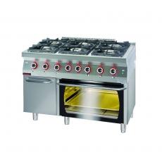 Kuchnia gazowa 6-palnikowa z piekarnikiem el. | KROMET 700.KG-6/PE-2/SD<br />model: 700.KG-6/PE-2/SD<br />producent: Kromet
