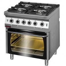 Kuchnia gastronomiczna gazowa 4-palnikowa z piekarnikiem el.   KROMET 700.KG-4/PE-2<br />model: 700.KG-4/PE-2<br />producent: Kromet