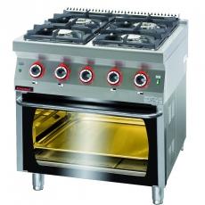 Kuchnia gastronomiczna gazowa 4-palnikowa z piekarnikiem gaz. | KROMET 700.KG-4/PG-2<br />model: 700.KG-4/PG-2.A<br />producent: Kromet
