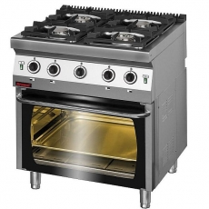 Kuchnia gastronomiczna gazowa 4-palnikowa z piekarnikiem gaz.   KROMET 700.KG-4/PG-2<br />model: 700.KG-4/PG-2<br />producent: Kromet