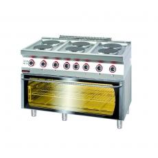 Kuchnia gastronomiczna gazowa 6-palnikowa z piekarnikiem el. | KROMET 700.KG-6/PE-3<br />model: 700.KG-6/PE-3<br />producent: Kromet