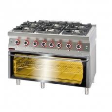 Kuchnia gastronomiczna gazowa 6-palnikowa z piekarnikiem el. | KROMET 700.KG-6/PE-3<br />model: 700.KG-6/PE-3.A<br />producent: Kromet