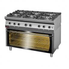 Kuchnia gastronomiczna gazowa 6-palnikowa z piekarnikiem el.   KROMET 700.KG-6/PE-3<br />model: 700.KG-6/PE-3<br />producent: Kromet