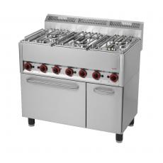 Kuchnia gastronomiczna gazowa  5-palnikowa z piekarnikiem i szafką SPT 90/5 GL<br />model: 00000540<br />producent: Redfox