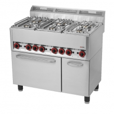 Kuchnia gastronomiczna gazowa  6-palnikowa z piekarnikiem i szafką SPT 90 GL<br />model: 00000541<br />producent: Redfox