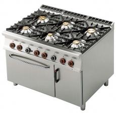 Kuchnia gastronomiczna gazowa 6-palnikowa z piekarnikiem CF6-912GV<br />model: 00001081<br />producent: Lotus