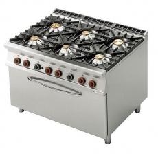 Kuchnia gastronomiczna gazowa 6-palnikowa z piekarnikiem CF6-912GE<br />model: 00001085<br />producent: Lotus