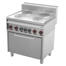 Kuchnia gastronomiczna elektryczna 4-płytowa z piekarnikiem CF4- 8ET/S<br />model: 00000798<br />producent: Redfox