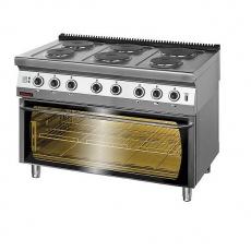 Kuchnia gastronomiczna elektryczna 6-płytowa z piekarnikiem el.   KROMET 700.KE-6/PE-3<br />model: 700.KE-6/PE-3<br />producent: Kromet