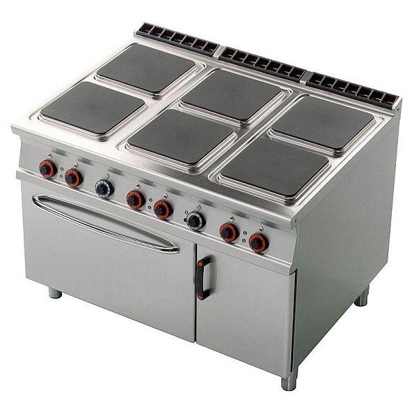 Kuchnia gastronomiczna elektryczna 6 płytowa z piekarnikiem CFQ6 912ETV -> Kuchnia Elektryczna Z Piekarnikiem Gastronomiczna