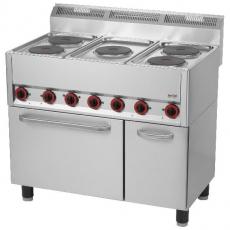 Kuchnia gastronomiczna elektryczna 5-płytowa z piekarnikiem i szafką SPT 90/5 ELS<br />model: 00000537<br />producent: Redfox