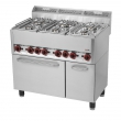 Kuchnia gastronomiczna gazowa 6-palnikowa z piekarnikiem i szafką SPT 90 GL