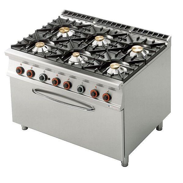 Kuchnia gastronomiczna gazowa 6 palnikowa z piekarnikiem CF6 912GE -> Kuchnia Gazowa Moc
