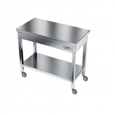 Stół roboczy nierdzewny na kółkach<br />model: E1510/800/700<br />producent: M&M Gastro