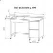 Stół nierdzewny ze zlewem 1-komorowym i blokiem szuflad E2140