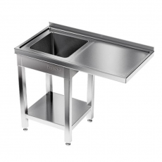 Stół nierdzewny ze zlewem 1-komorowym i miejscem na zmywarkę<br />model: E2520/1200/700<br />producent: ProfiChef