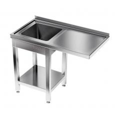 Stół nierdzewny ze zlewem 1-komorowym i miejscem na zmywarkę<br />model: E2520/1300/700<br />producent: ProfiChef