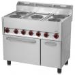 Kuchnia gastronomiczna elektryczna 5-płytowa z piekarnikiem i szafką SPT 90/5 ELS