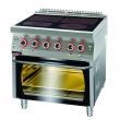 Kuchnia gastronomiczna elektryczna ceramiczna 4-polowa z piekarnikiem el. | KROMET 700.KE-4C/PE-2 - 700.KE-4C/PE-2