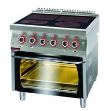 Kuchnia gastronomiczna elektryczna ceramiczna 4-polowa z piekarnikiem el. | KROMET 700.KE-4C/PE-2<br />model: 700.KE-4C/PE-2.A<br />producent: Kromet