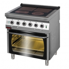 Kuchnia gastronomiczna elektryczna ceramiczna 4-polowa z piekarnikiem el. | KROMET 700.KE-4C/PE-2<br />model: 700.KE-4C/PE-2<br />producent: Kromet