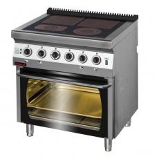 Kuchnia gastronomiczna elektryczna ceramiczna 4-polowa z piekarnikiem el.   KROMET 700.KE-4C/PE-2<br />model: 700.KE-4C/PE-2<br />producent: Kromet