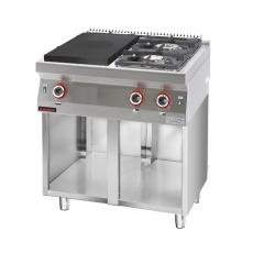 Kuchnia gastronomiczna gazowa 2-palnikowa z płytą grzewczą | KROMET 700.KG-2/I-400.S<br />model: 700.KG-2/I-400.S<br />producent: Kromet
