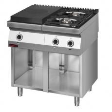 Kuchnia gastronomiczna gazowa 2-palnikowa z płytą grzewczą   KROMET 700.KG-2/I-400.S<br />model: 700.KG-2/I-400.S<br />producent: Kromet