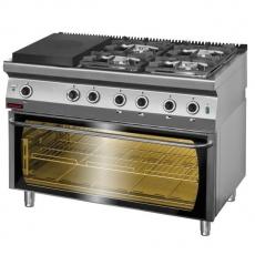Kuchnia gastronomiczna gazowa z piekarnikiem<br />model: 700.KG-4/I-400/PE-3<br />producent: Kromet