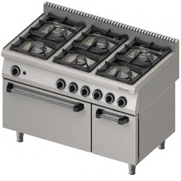 Kuchnia gastronomiczna gazowa 6 palnikowa z piekarnikiem 971111 -> Kuchnia Gazowa Amica Z Piekarnikiem Gazowym