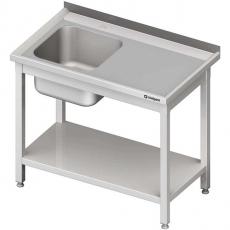 Stół nierdzewny ze zlewem 1-komorowym i półką dolną<br />model: 980706080S<br />producent: Stalgast