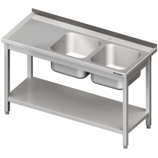 Stół nierdzewny ze zlewem 2-komorowym i półką<br />model: 980826110S<br />producent: Stalgast