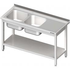 Stół nierdzewny ze zlewem 2-komorowym i półką<br />model: 980846110S<br />producent: Stalgast
