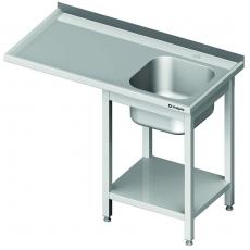Stół nierdzewny ze zlewem 1-komorowym i miejscem na zmywarkę<br />model: 980956120S<br />producent: Stalgast