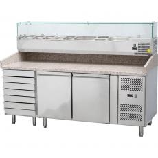 Stół chłodniczy do pizzy 2 drzwiowy z szufladami i nadstawą<br />model: 843271<br />producent: Stalgast