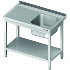 Stół nierdzewny ze zlewem 1-komorowym i półką dolną<br />model: 614306<br />producent: Stalgast
