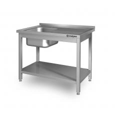 Stół nierdzewny ze zlewem 1-komorowym i półką dolną<br />model: 614106<br />producent: Stalgast