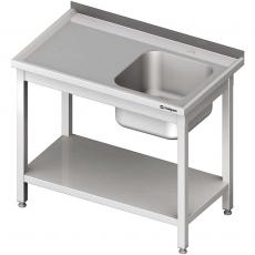 Stół nierdzewny ze zlewem i półką składany<br />model: 613306<br />producent: Stalgast