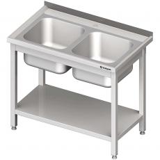 Stół ze zlewem nierdzewny 2-komorowym i półką składany<br />model: 613706<br />producent: Stalgast
