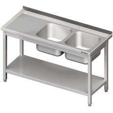 Stół ze zlewem nierdzewny 2-komorowym i półką składany<br />model: 613746<br />producent: Stalgast