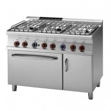 Kuchnia gastronomiczna gazowa 6-palnikowa z piekarnikiem CFV6-712 GEV/P<br />model: 00008741<br />producent: Lotus